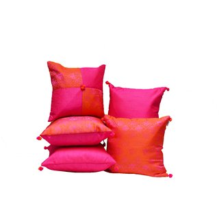 meSleep Pink Brocade and Dupioni Silk Cushion Covers-5 pc set