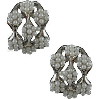 Anuradha Art Silver Finish Studded White Colour Beads Earrings For Women/Girls