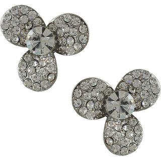 Anuradha Art White Colour Stylish Designer Studded Shimmering Stone Earrings For Women/Girls