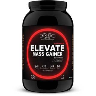 Sinew Nutrition Elevate Mass Gainer with DigiEnzymes, 3-1 Ratio (carb-protein), 1 kg Chocolate