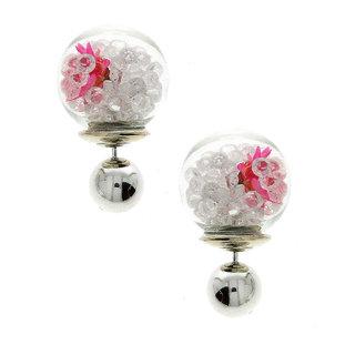 Anuradha Art White-Pink Colour Designer Studed Sparkling Shimmering Stone Wonderful Studs Styled Fancy Earrings For Women/Girls