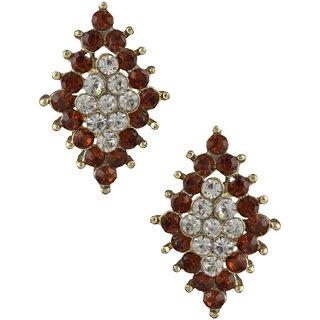 Anuradha Art Brown Colour Studded Shimmering Stone Earrings For Women/Girls