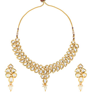 Khetlazee Gold Gold Plated Alloy Necklace Set For Women