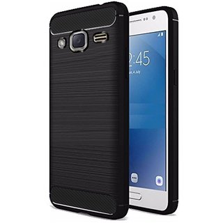 Luxury Hybrid Black CARBON FIBRE Brushed Soft Rubber Back Cover For Samsung Galaxy J7 Nxt