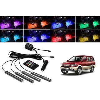 Trigcars Made Especially for Chevrolet Tavera Car 4x 12LED RGB Car Interior Atmosphere Neon Light Strip Lamps Music Remote Control