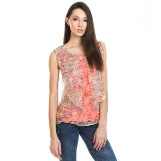 Moderno Women's Orange Round Neck T-Shirt