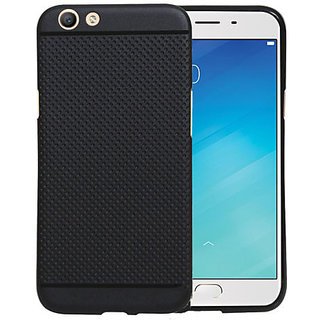 Oppo F1s Matte Rubberised soft Dotted Back Case Cover Black