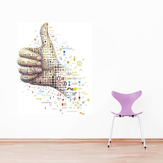 Wall Sticker Thumbs Up Design (Cover Area :- 20 X 20 inch)