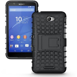 Yes2Good Defender Case for Sony Xperia E4 Dual Layer Tough Rugged Shockproof Hybrid Warrior Armor Case Back Cover With Kickstand / Black