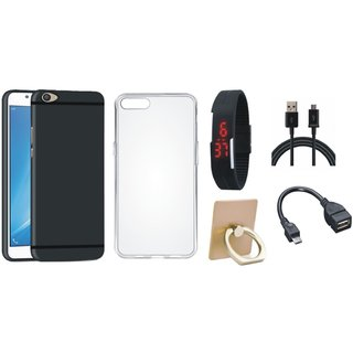 Redmi Note 3 Cover with Ring Stand Holder, Silicon Back Cover, Digital Watch, OTG Cable and USB Cable