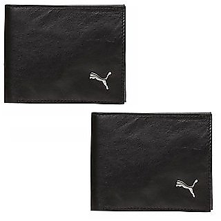 Pack Of 2 Puma Men Black Genuine Leather Wallets