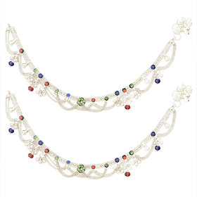 Sparkling Silver Plated Multistrand Alloy Heavy Payal with Multicolor Crystal  Stone