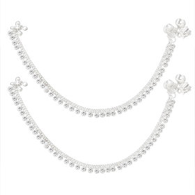 Sparkling Silver Plated Alloy Chain Anklet with White Cz Stone