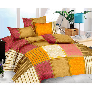 The Intellect Bazaar 152 TC Cotton King Bedsheet with 2 Pillow covers - King Size Yellow (90*100)