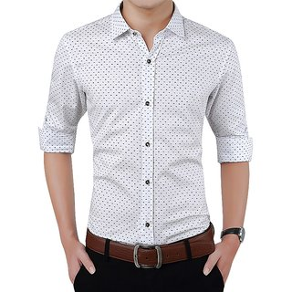 Gladiator Men's White Dotted Cotton Blend Slim Fit Shirt
