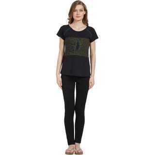 Mystere Paris Women's Black Printed Boat Neck Cotton Tshirts