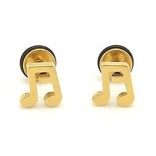 2Pcs Stainless Steel Music Note Ear Gold Color Studs for Men/Women Earrings