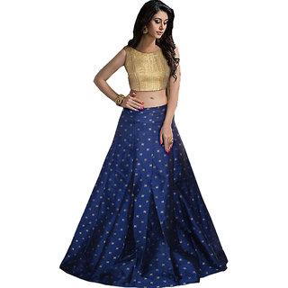 bba00149e5 70%off Aika Womens Taffeta Printed Free Size Blue Lehenga Choli For Women