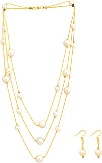 Sparkling Gold Plated Alloy 3 Chain Necklace with White Pearls
