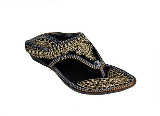 Pm Traders Women's Fashion Rajasthani Black Chappal