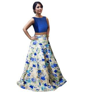 Aika Womens Bangalory Satin Silk Free Size Blue Lehenga Choli For Women