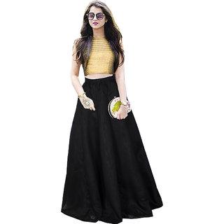 Aika Womens Bangalory Satin Free Size Black Lehenga Choli For Women