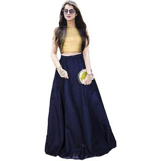Aika Womens Bangalory Satin Free Size Blue Lehenga Choli For Women