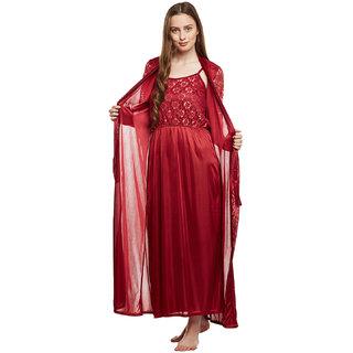 Buy Claura Women Satin Nighty With Robe Online - Get 66% Off 95d3c91fa