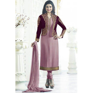 Salwar Soul Womens Latest Desiger Light Purple Embroidered Work Long Suit Party Wear For Womens  Girls