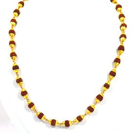 KashiClouds Original 5 Mukhi Gold Cap Rudraksha Mala 7 mm 54+1 Beads Mala