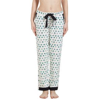 Mystere Paris Women's White Printed Cotton Pyajama