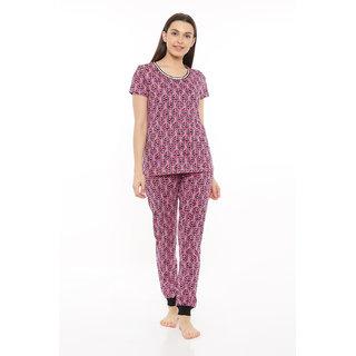 Mystere Paris Women's Pink Geometric Cotton Pyajama Set