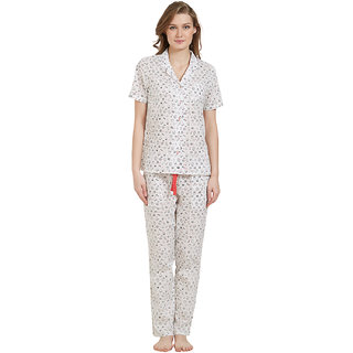 Mystere Paris Women's White Printed Cotton Pyajama Set