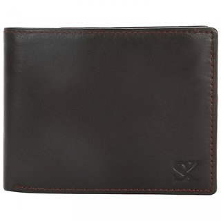 STYLER KING Dark Brown Genuine Leather Wallet for Men