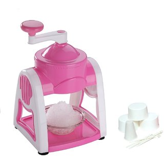 Famous Ice Snow Maker With 3-Icebowls 1-Glass 6-Sticks 1-Ice Snow Dish (Pink)