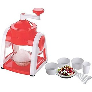 Famous Ice Snow Maker With 3-Icebowls 1-Glass 6-Sticks 1-Ice Snow Dish (Red)