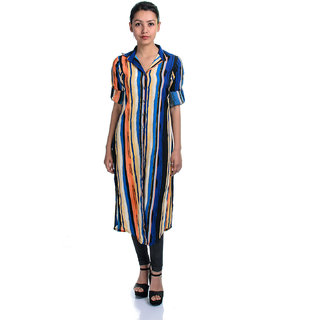 Timbre Casual Roll-up Sleeve Striped Women Multicolor Maxi Top With Collar