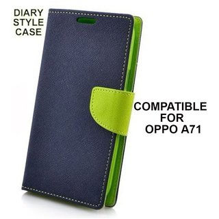 Brand Fuson Luxury Mercury Magnetic Lock Diary Wallet Style Flip Cover Case for OPPO A71 - Blue