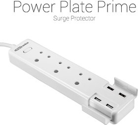 Portronics POR-712 Power Plate Prime Three 5A electrical universal sockets and 4 USB ports  Surge Protector(White)