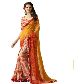 Kvsfab Multi Colour Georgette Saree