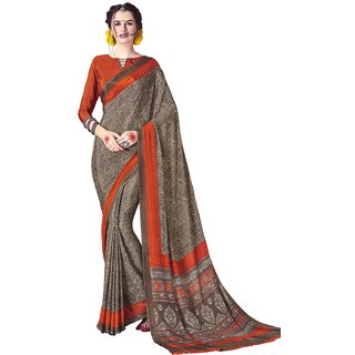 Swaron Women's Grey and Orange Colored Printed Crepe Saree With Unstitched Blouse
