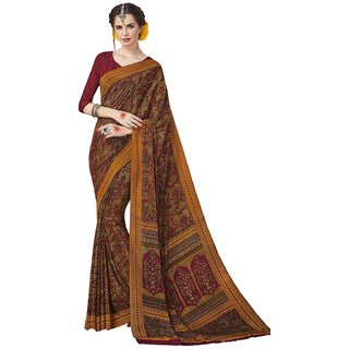 Swaron Women's Maroon and Yellow Colored Printed Crepe Saree With Unstitched Blouse