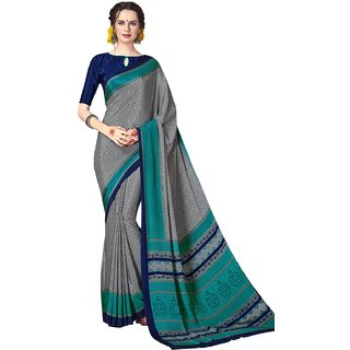 Swaron Women's Grey and Turquoise Colored Printed Crepe Saree With Unstitched Blouse