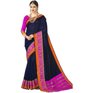 Swaron Women's Navy Blue Colored Jacquard Border Chanderi Silk Saree With Unstitched Blouse