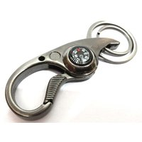Styler Metal Golden Double Key Ring Hook Magnetic Compass Key Chain