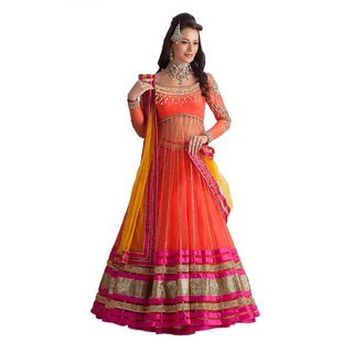 Ellis Harvey Orange Net Raw Silk Party Wear Lehenga Choli with Hand work