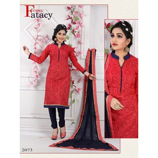 5a853b21eb Dhruvil Impex Designer Red Embroidered Straight Salwar Suit (Unstitched)
