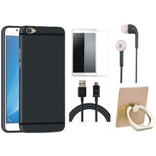 Redmi Note 4 Soft Silicon Slim Fit Back Cover with Ring Stand Holder, Tempered Glass, Earphones and USB Cable