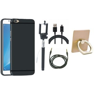 Redmi Note 4 Soft Silicon Slim Fit Back Cover with Ring Stand Holder, Selfie Stick, USB Cable and AUX Cable