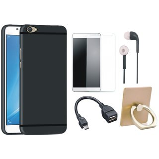 Redmi Note 4 Soft Silicon Slim Fit Back Cover with Ring Stand Holder, Tempered Glass, Earphones and OTG Cable